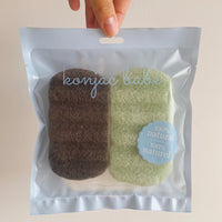 Body Konjac Sponge Duo - Black Charcoal & Green Clay