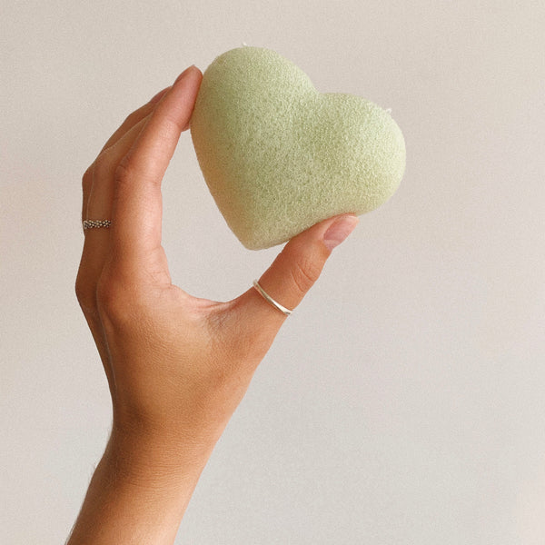 Green Clay heart face konjac sponge