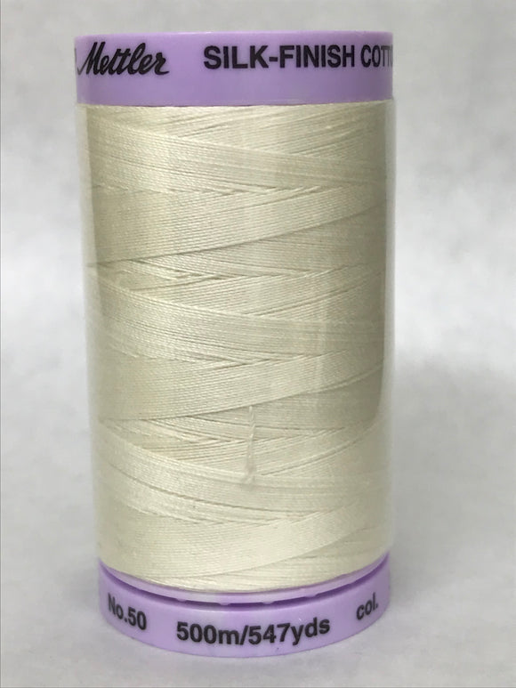 METTLER-  Silk Finish Cotton Thread, 500M (50 Weight) - Cream - 3612
