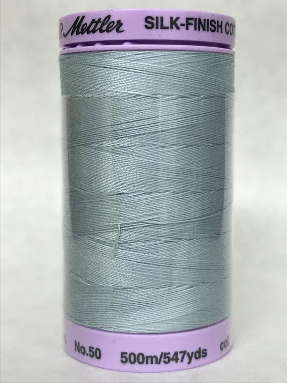 Mettler - Silk Finish Cotton Thread, 500M (50 Weight) - Medium Grey - 0412