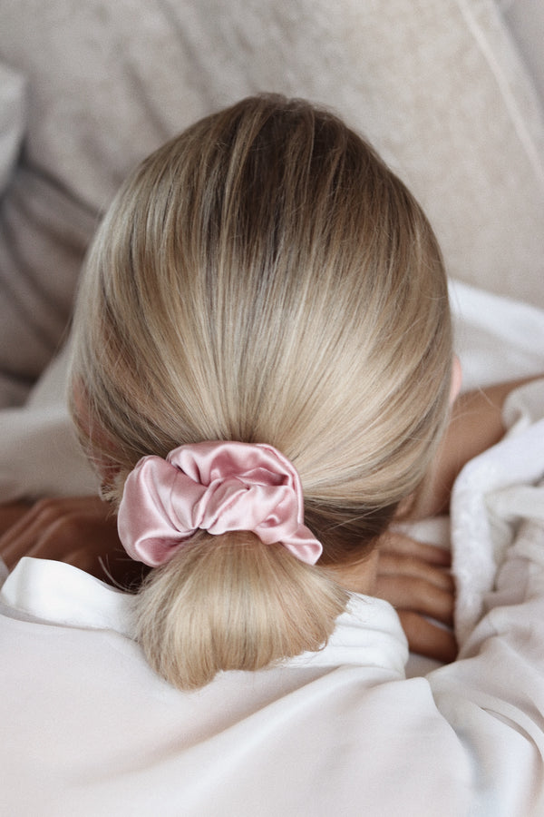 *NEW Double Silk* Privé Pure Silk Hair Scrunchie - Blush - The Nice Cream Company