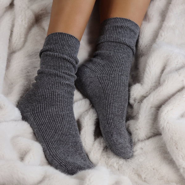 Charcoal Cashmere Bed Socks - The Nice Cream Company