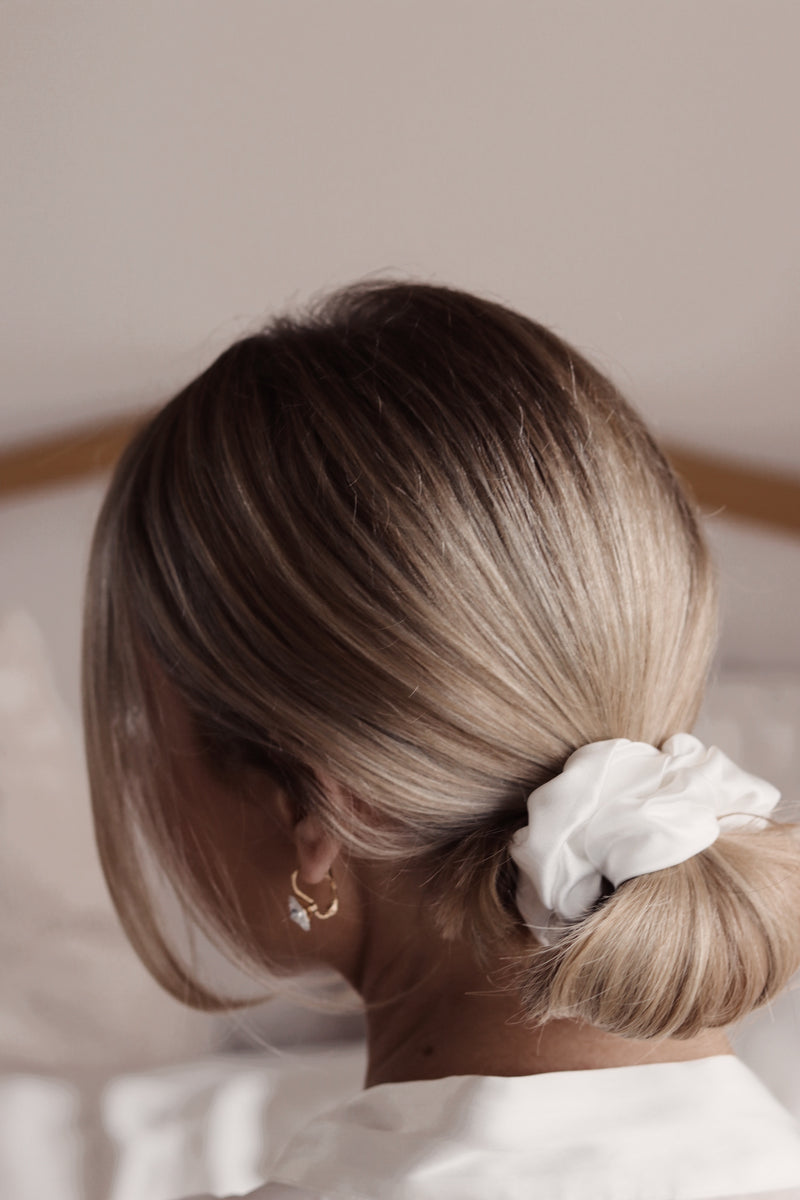 *NEW DOUBLE SILK* Privé Pure Silk Hair Scrunchie - Ivory - The Nice Cream Company