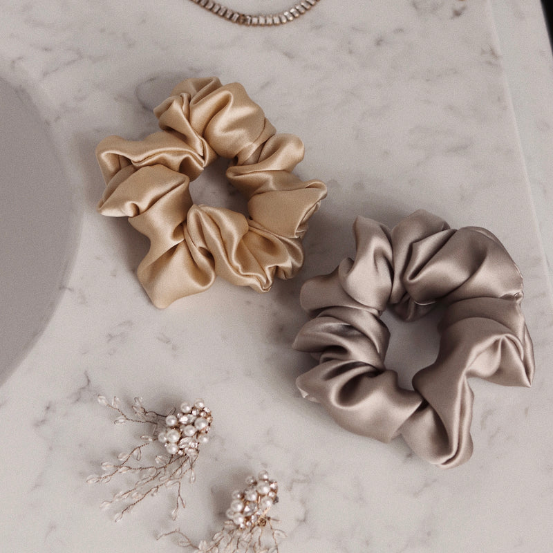 *LIMITED EDITION* Luxe Pure Silk Hair Scrunchie - Honey - Nice Cream London