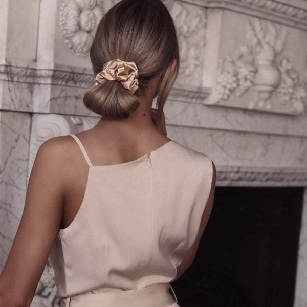 *LIMITED EDITION* Luxe Pure Silk Hair Scrunchie - Honey - The Nice Cream Company