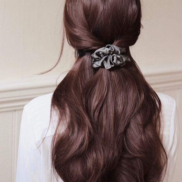 *BRAND NEW* Luxe Pure Silk Hair Scrunchie - Charcoal - The Nice Cream Company