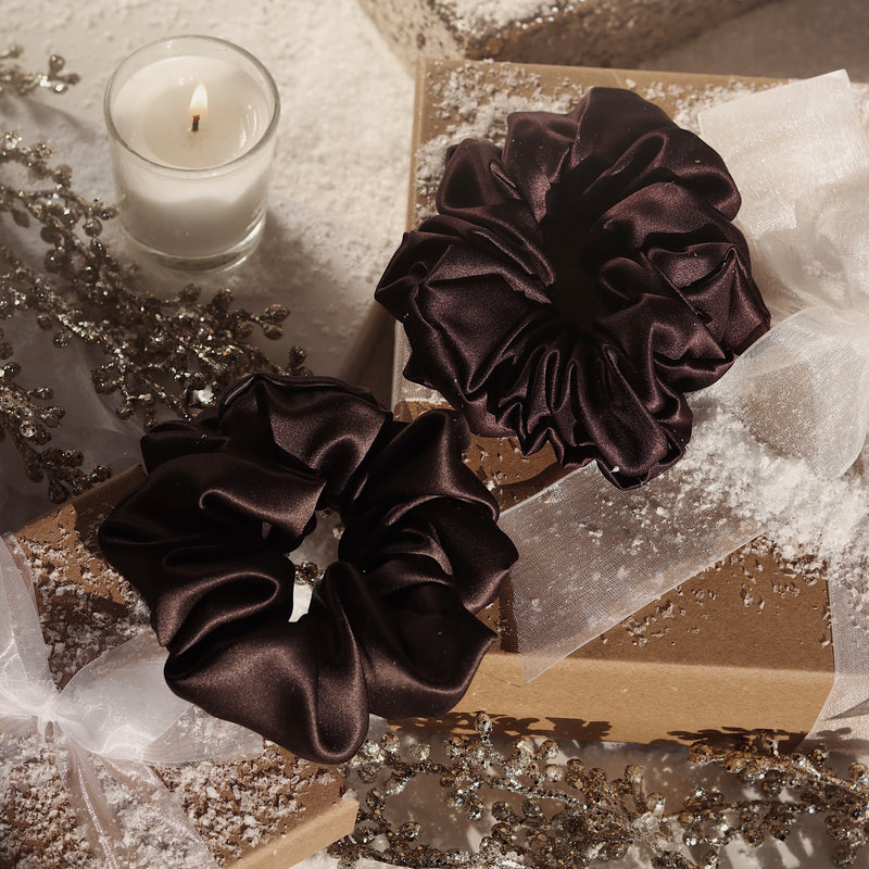 *Limited Edition* Luxe Pure Silk Hair Scrunchie - Velvet Chocolate