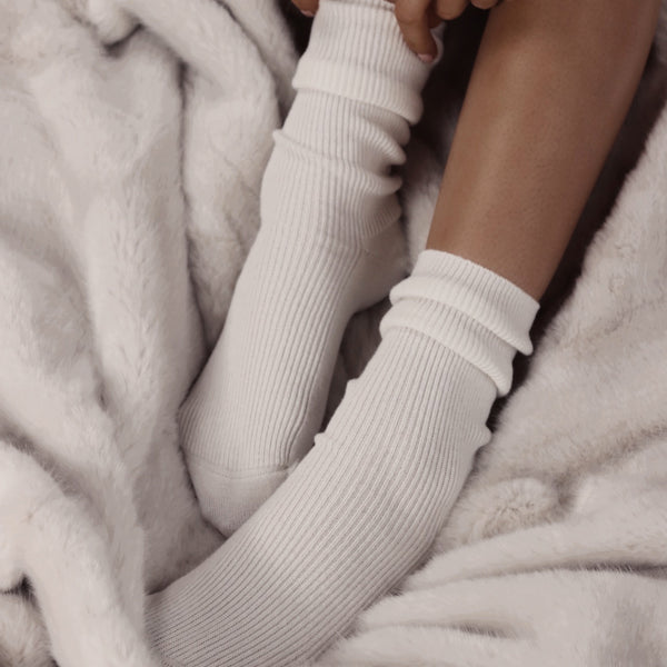 Ivory Cashmere Bed Socks - The Nice Cream Company