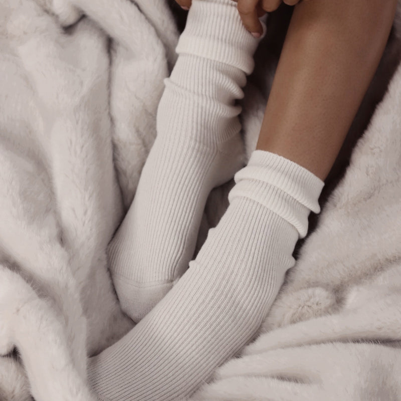 Ivory Cashmere Bed Socks - Nice Cream London