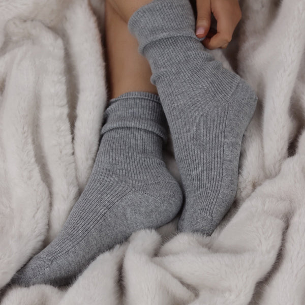 Silver Grey Cashmere Bed Socks - Nice Cream London