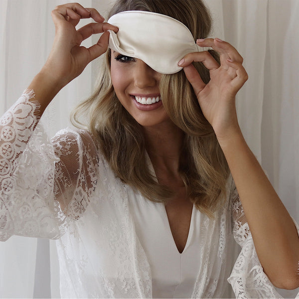 Privé Silk Eye Sleep Mask - Ivory - The Nice Cream Company