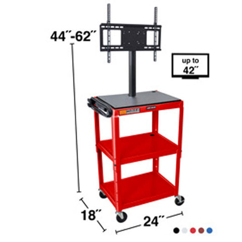 Adjustable Height Steel A/V Cart - LCD Mount