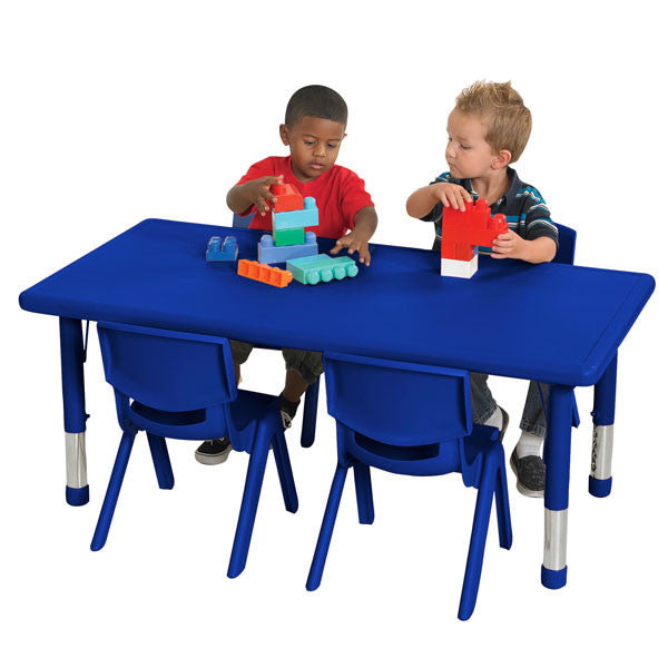 ECR4Kids 24 X 48 Rectangular Resin Adjustable Activity Table, Red  ELR 14405 RD