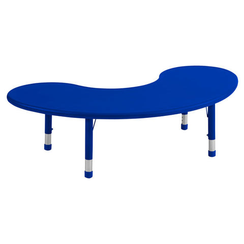 Blue Resin Adjustable Height Kidney Shaped Activity Table