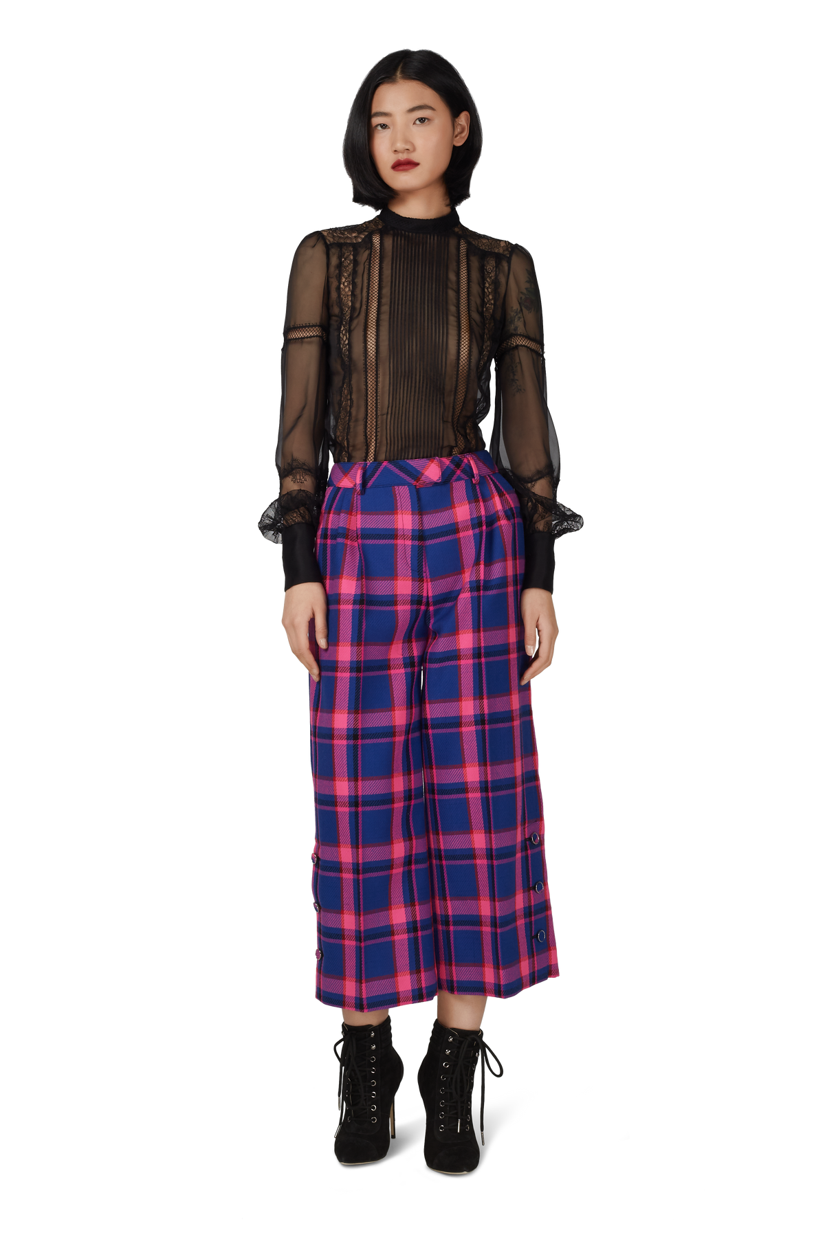 Blue and Pink Wool Check Culottes