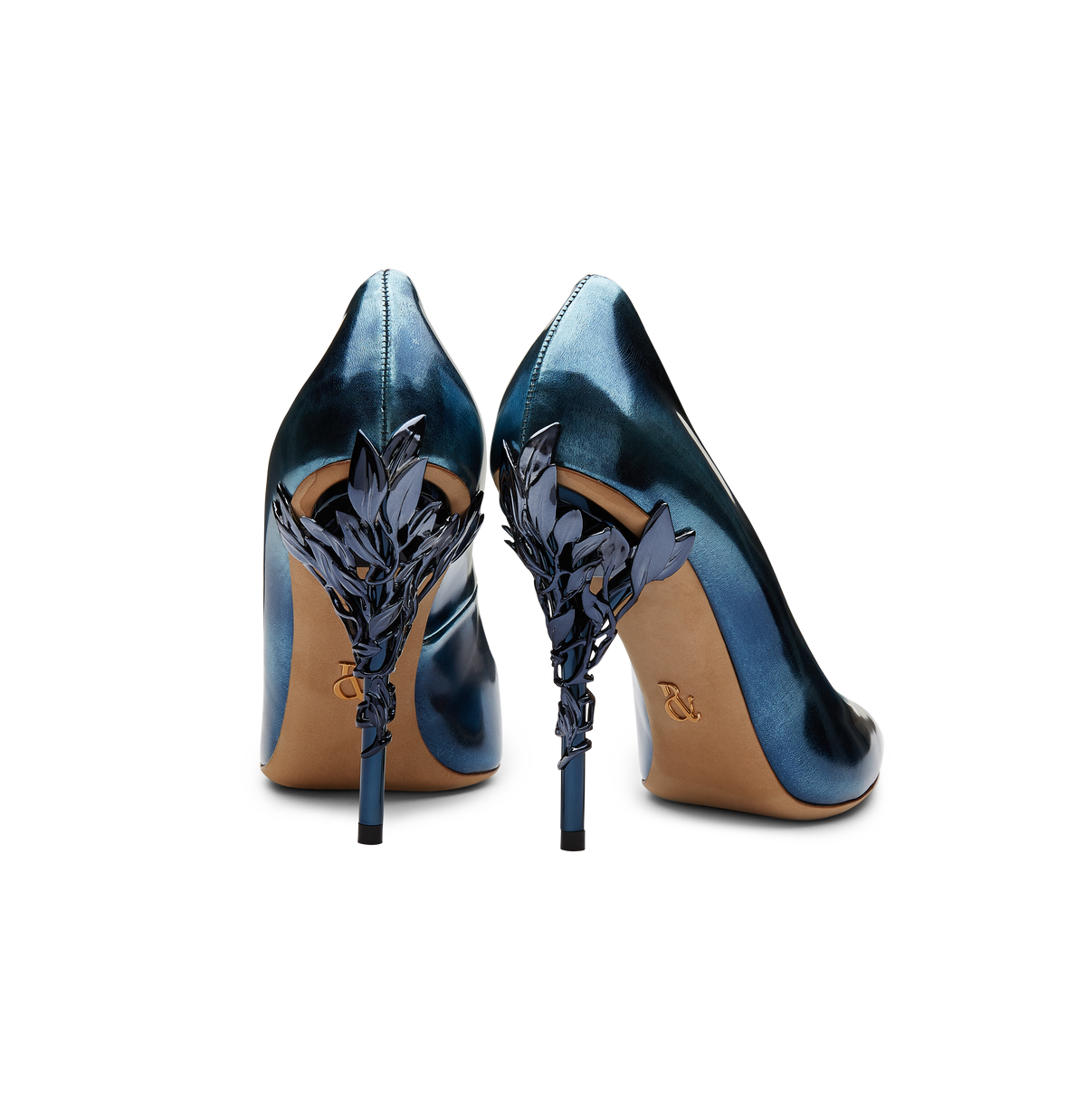 Petrol Blue Metallic Leather Eden Heels with Blue Leaves