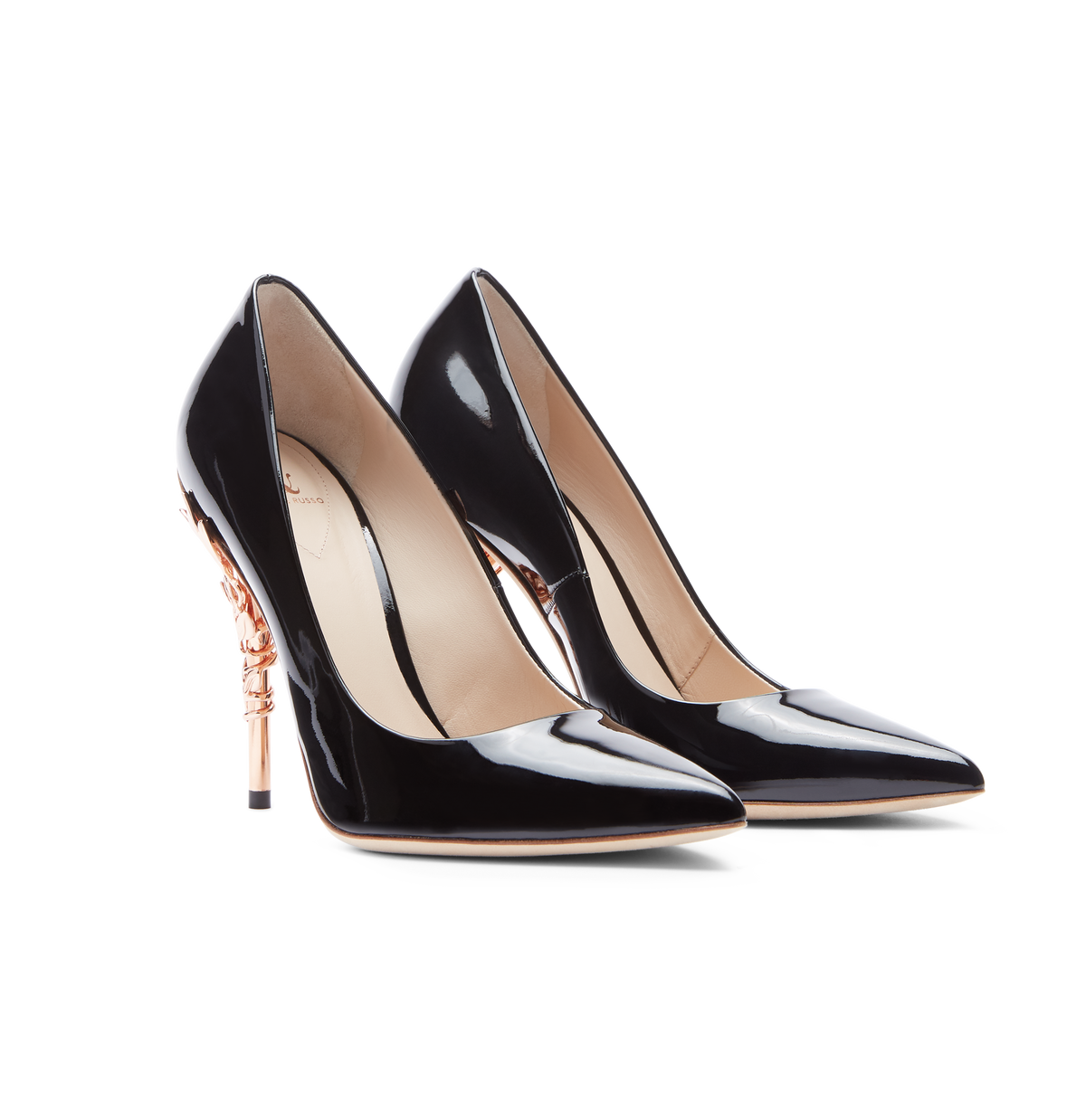 Black Patent Leather Eden Heels with Rose Gold Leaves