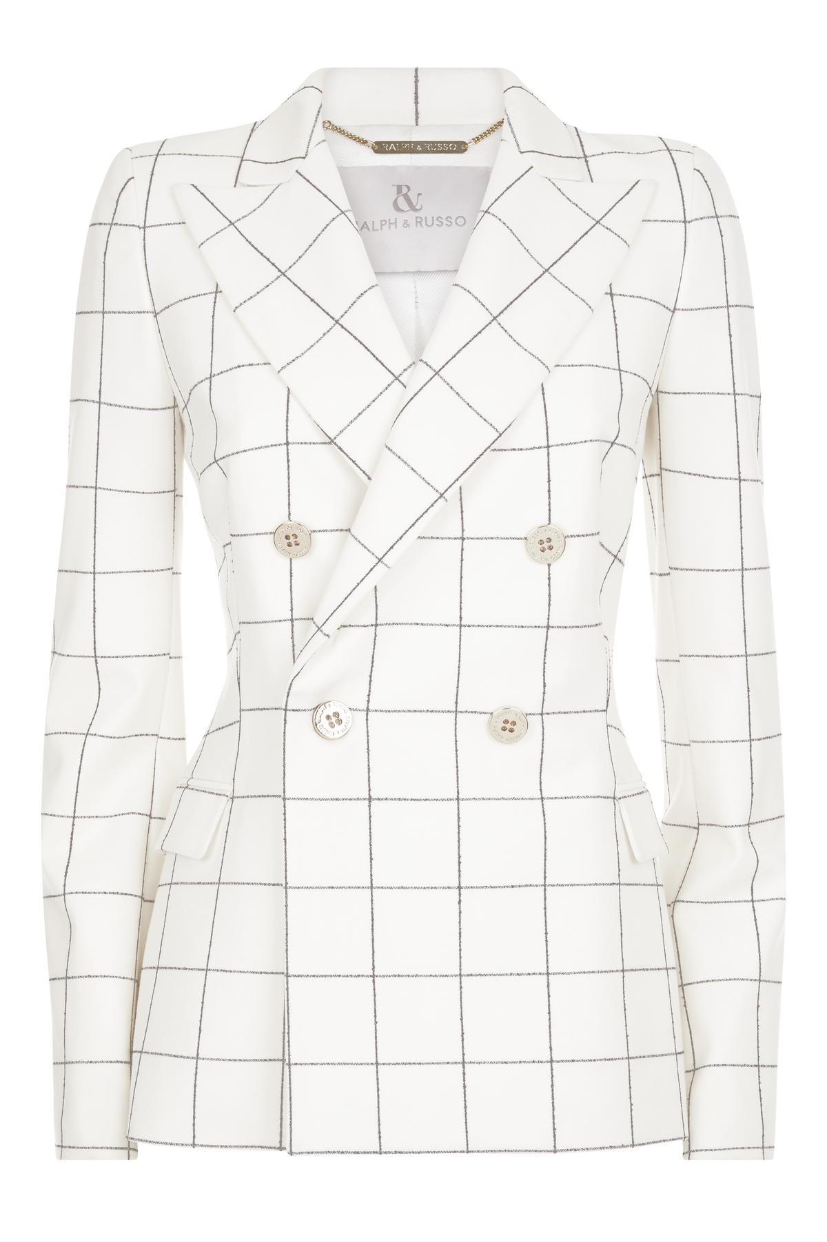 White Check Wool Crepe Double Breasted Jacket