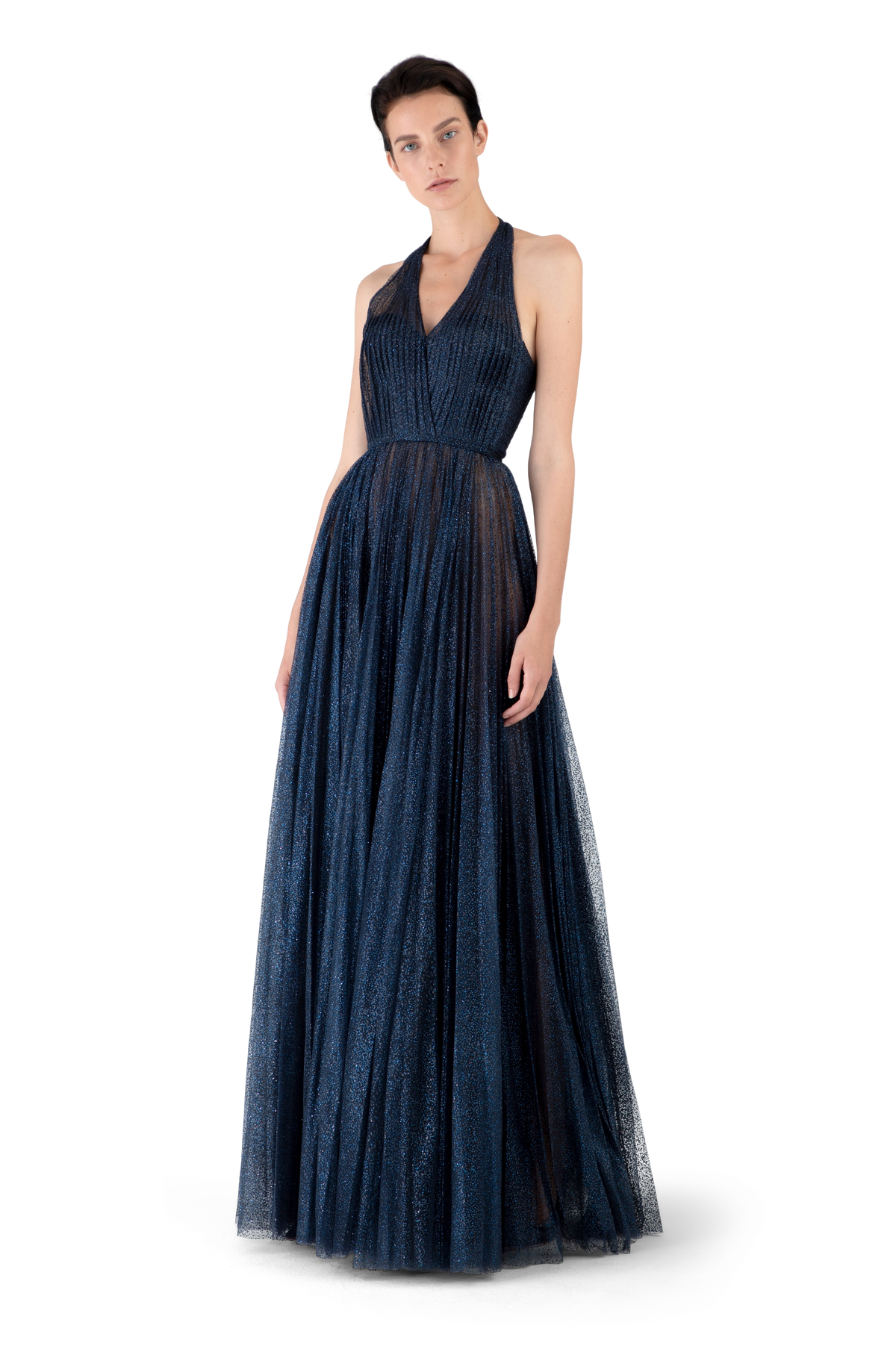 Navy Tulle Pleated Ball Gown