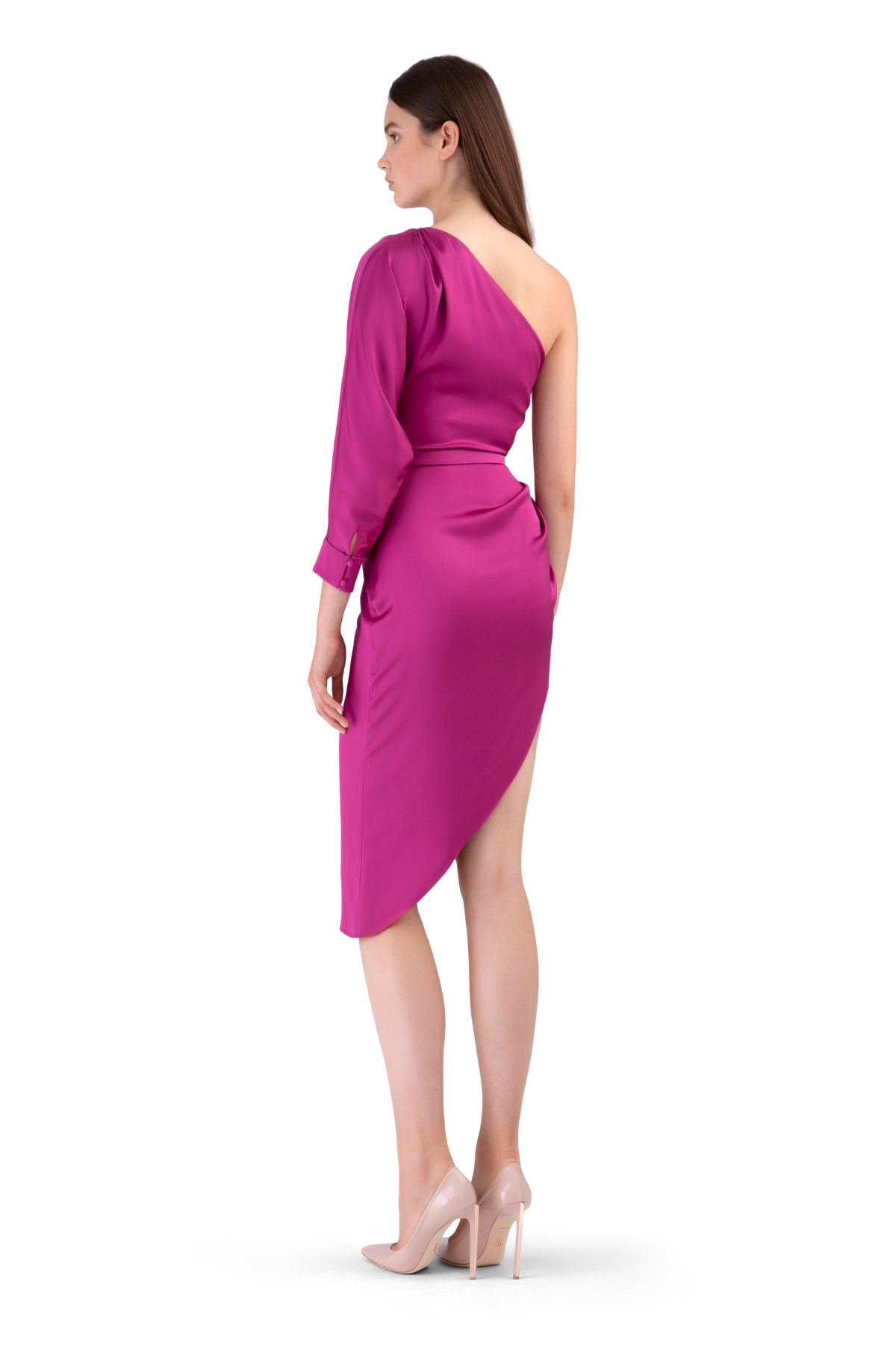 Plum Double Satin Asymmetric Draped Dress