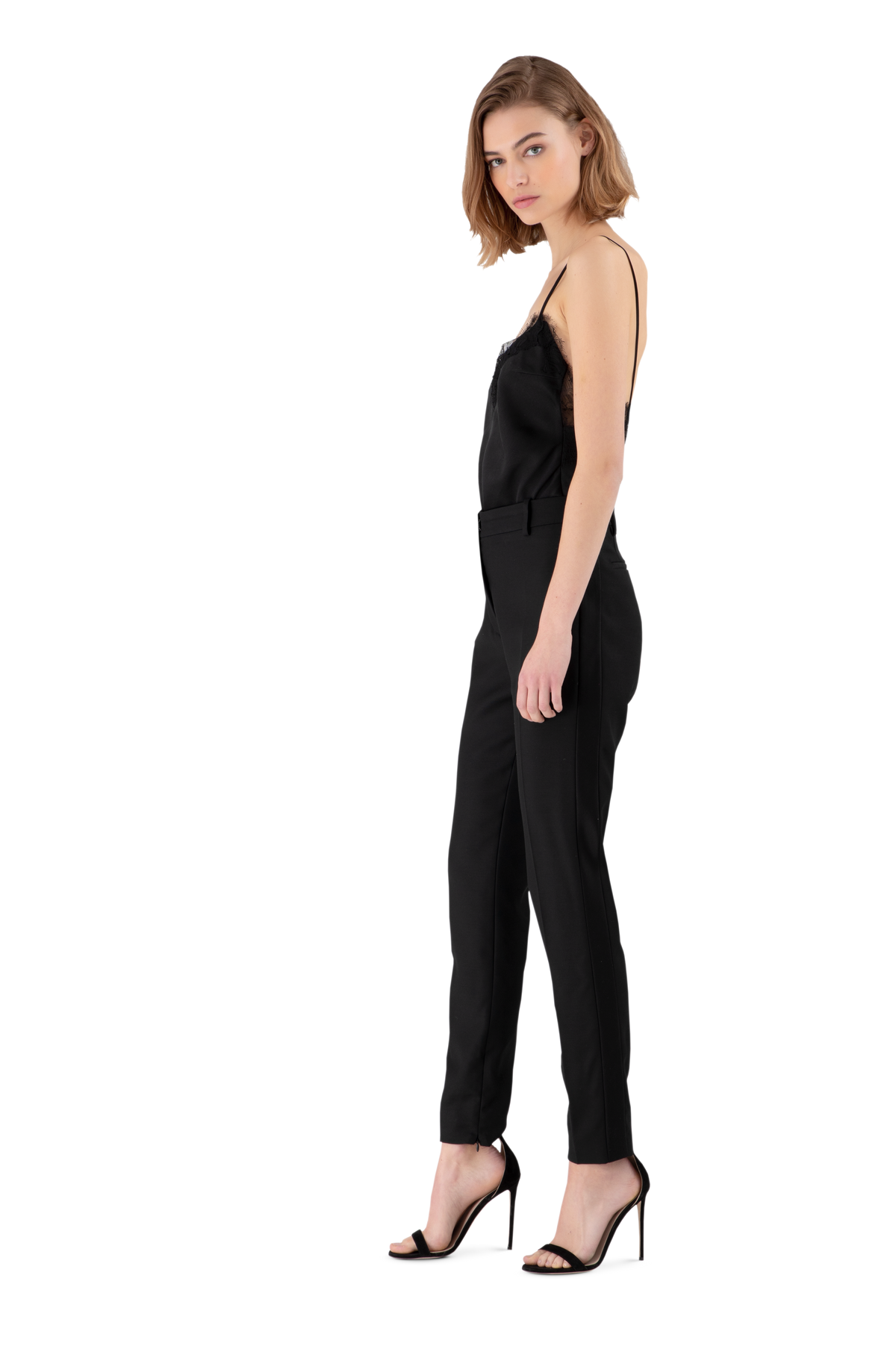 Black Satin Crepe Skinny Trousers