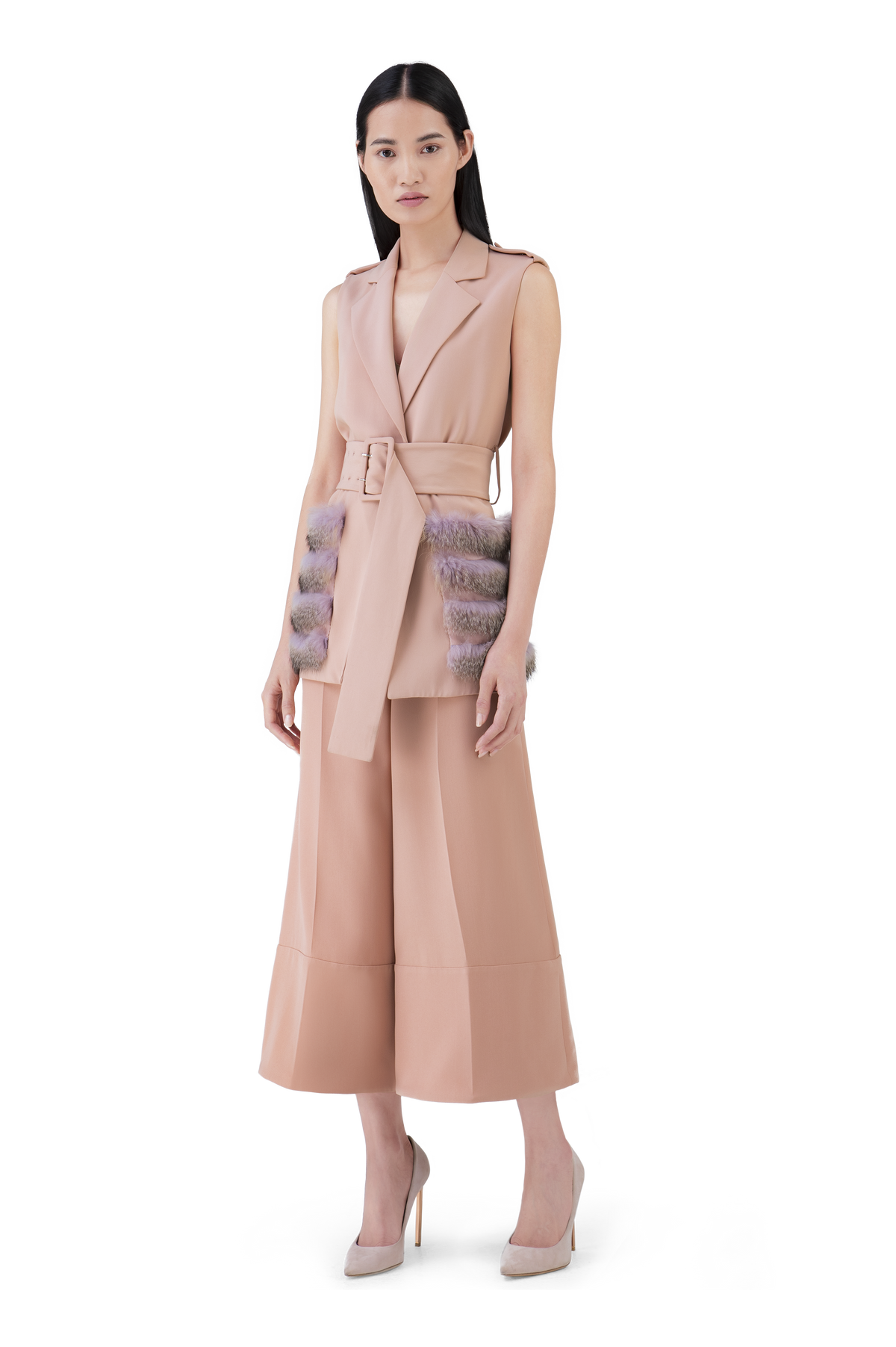 Blush Pink Wool Wide Leg Culottes