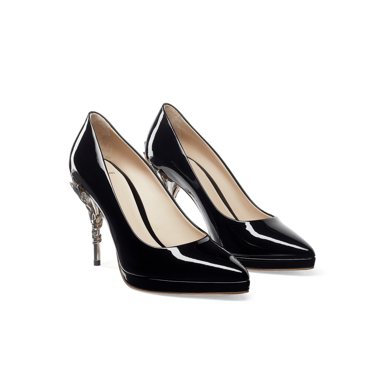 Black Patent Leather Eden Platform Heels with Silver Leaves