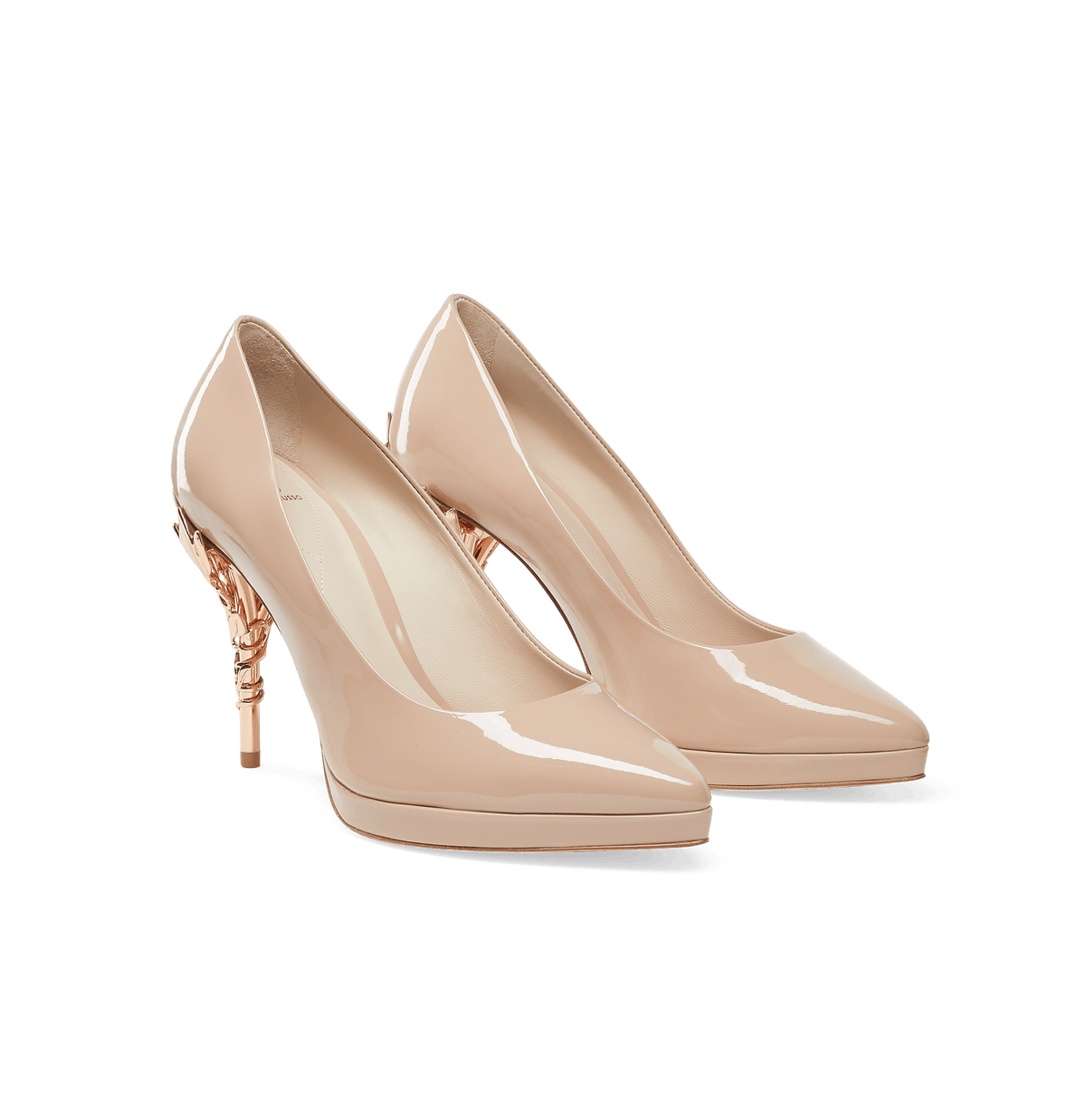 Nude Patent Leather with Rose Gold Leaves