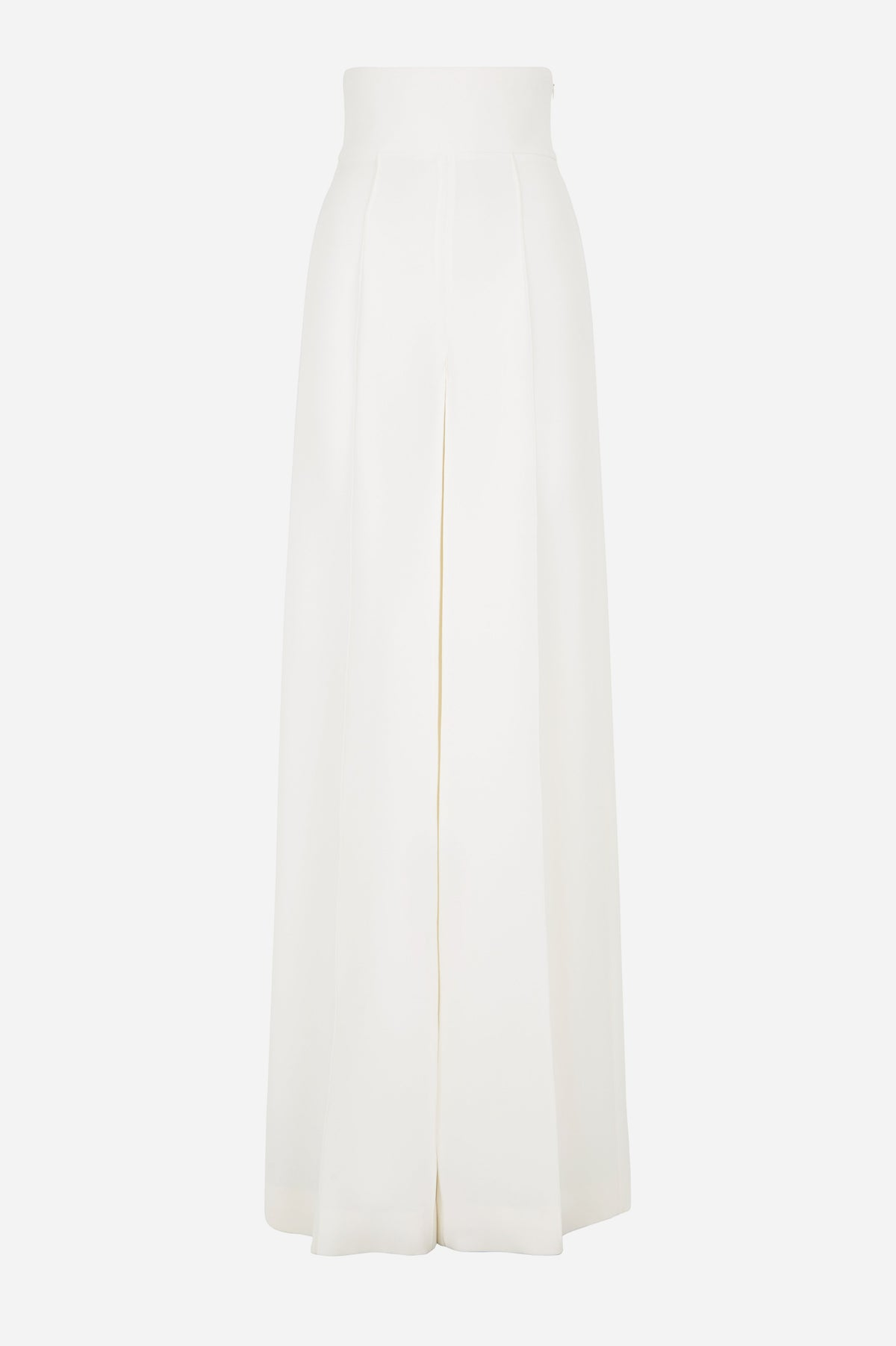 Snow White Silk Crepe Wide Leg Trousers