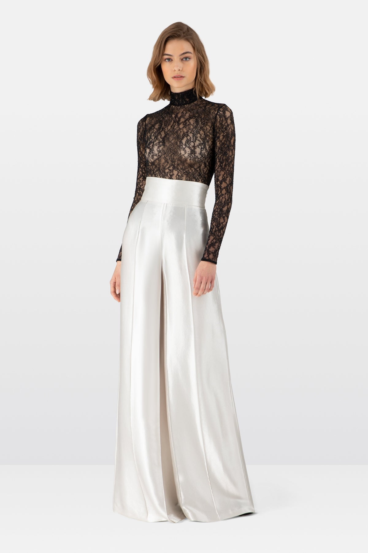 Silver Mirrored Wide Leg Trousers