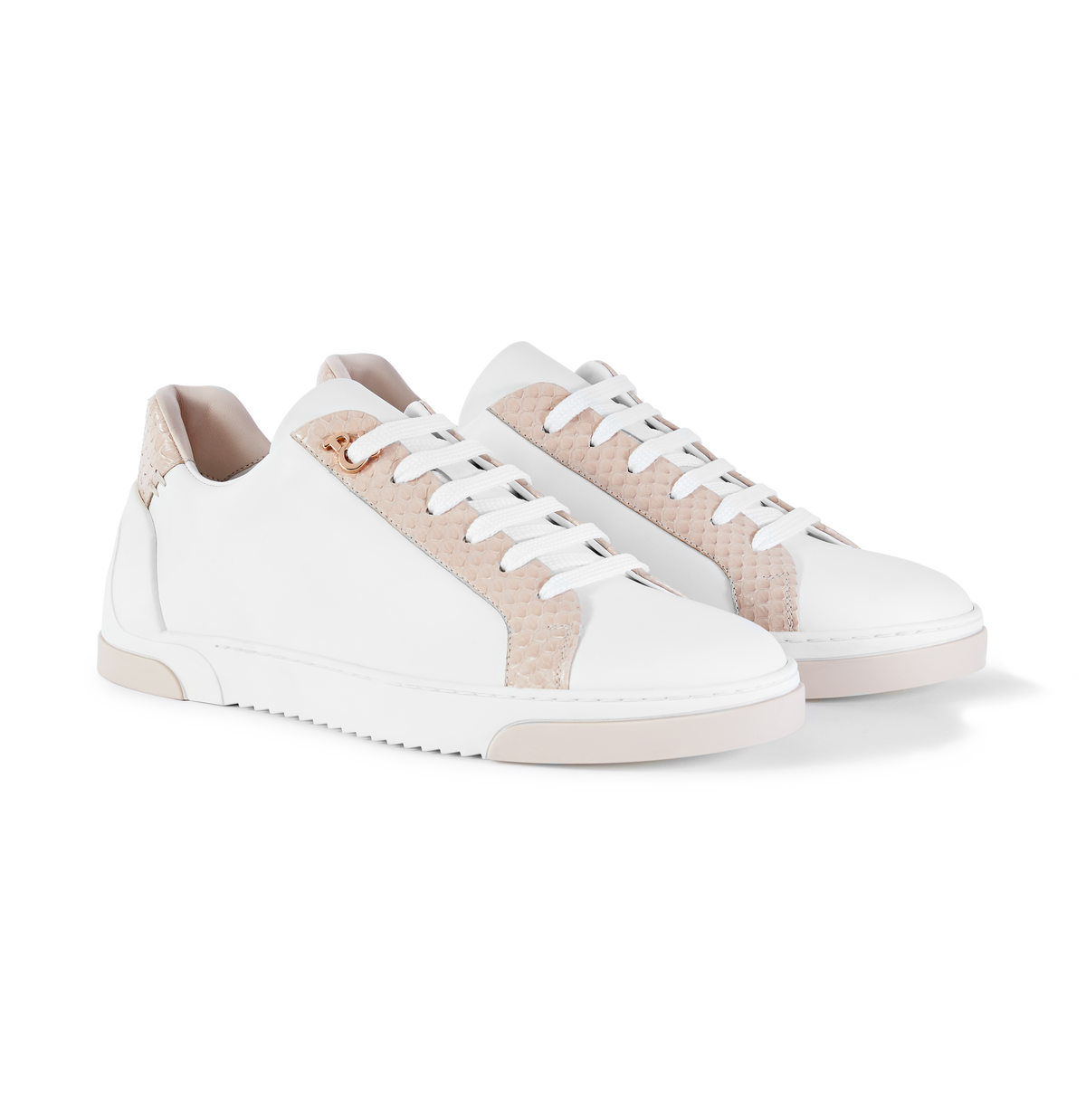 White Leather and Nude Elaphe Sneakers