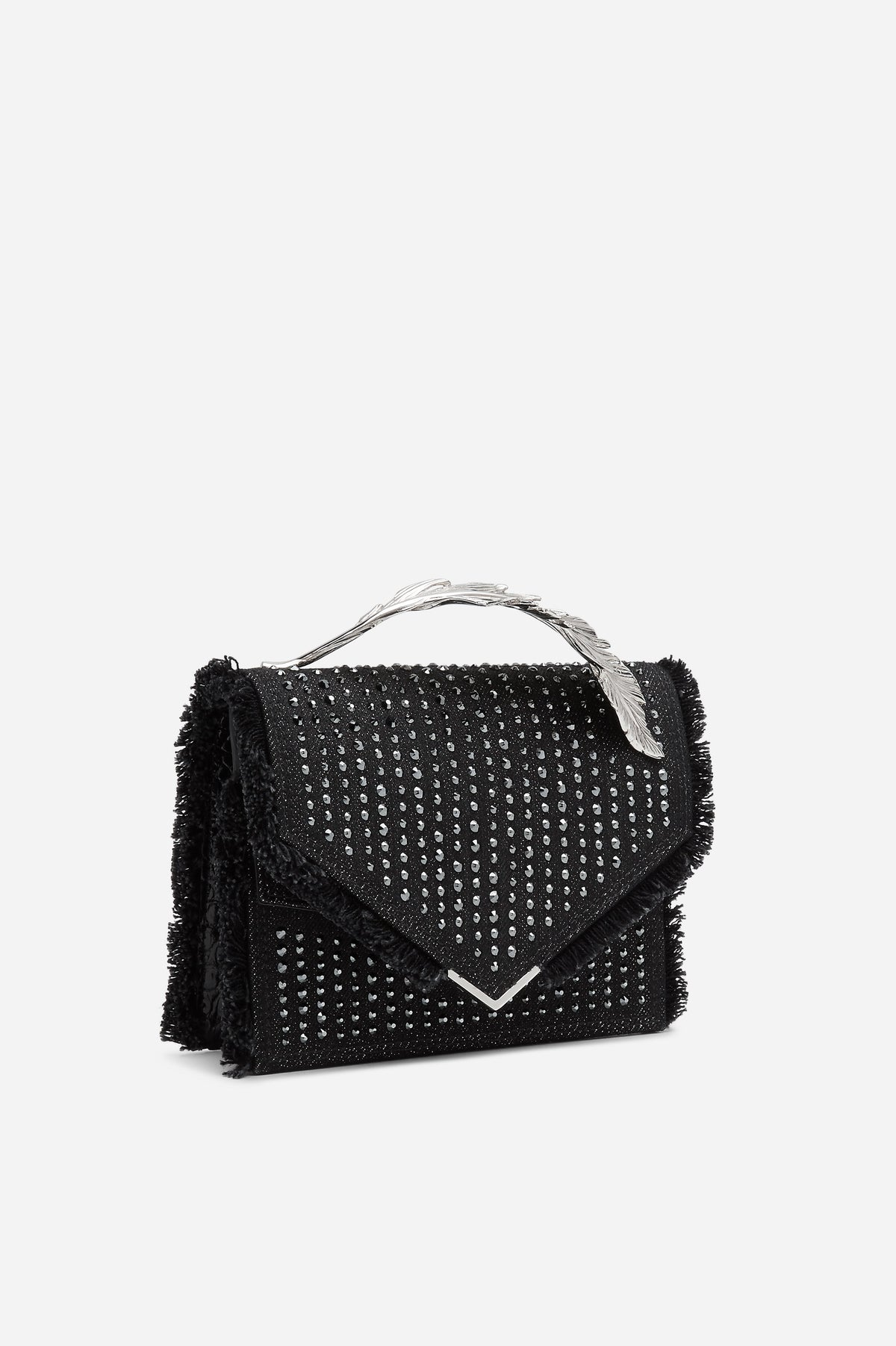 Black Embellished Denim and Alligator Alina Clutch