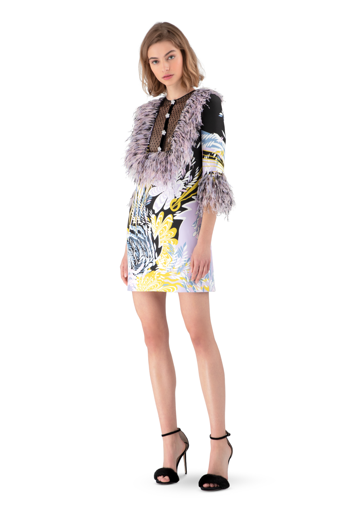Psychedelic Print Feather Trimmed Mini Dress