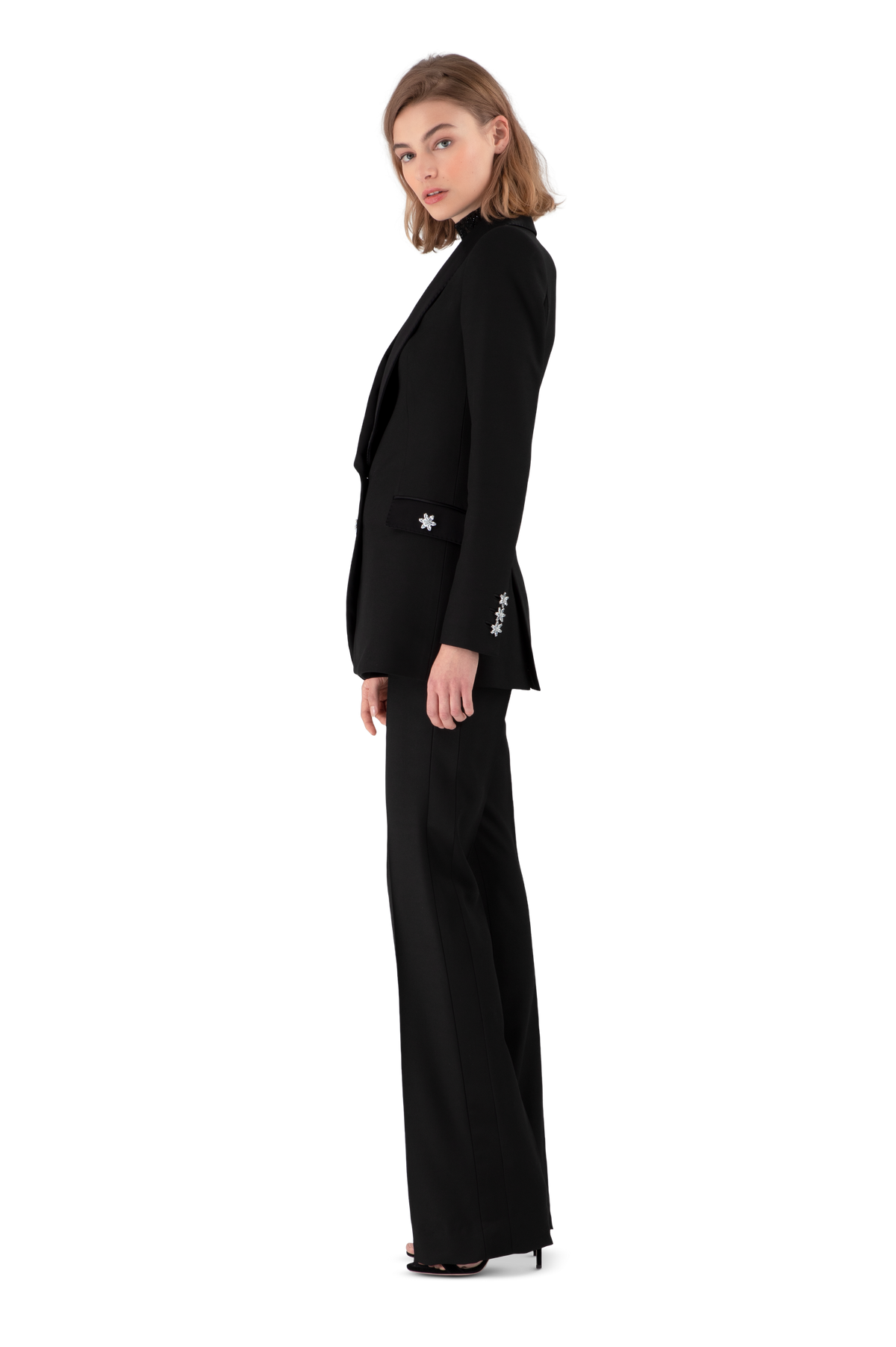Black Satin Crepe Tailored Blazer