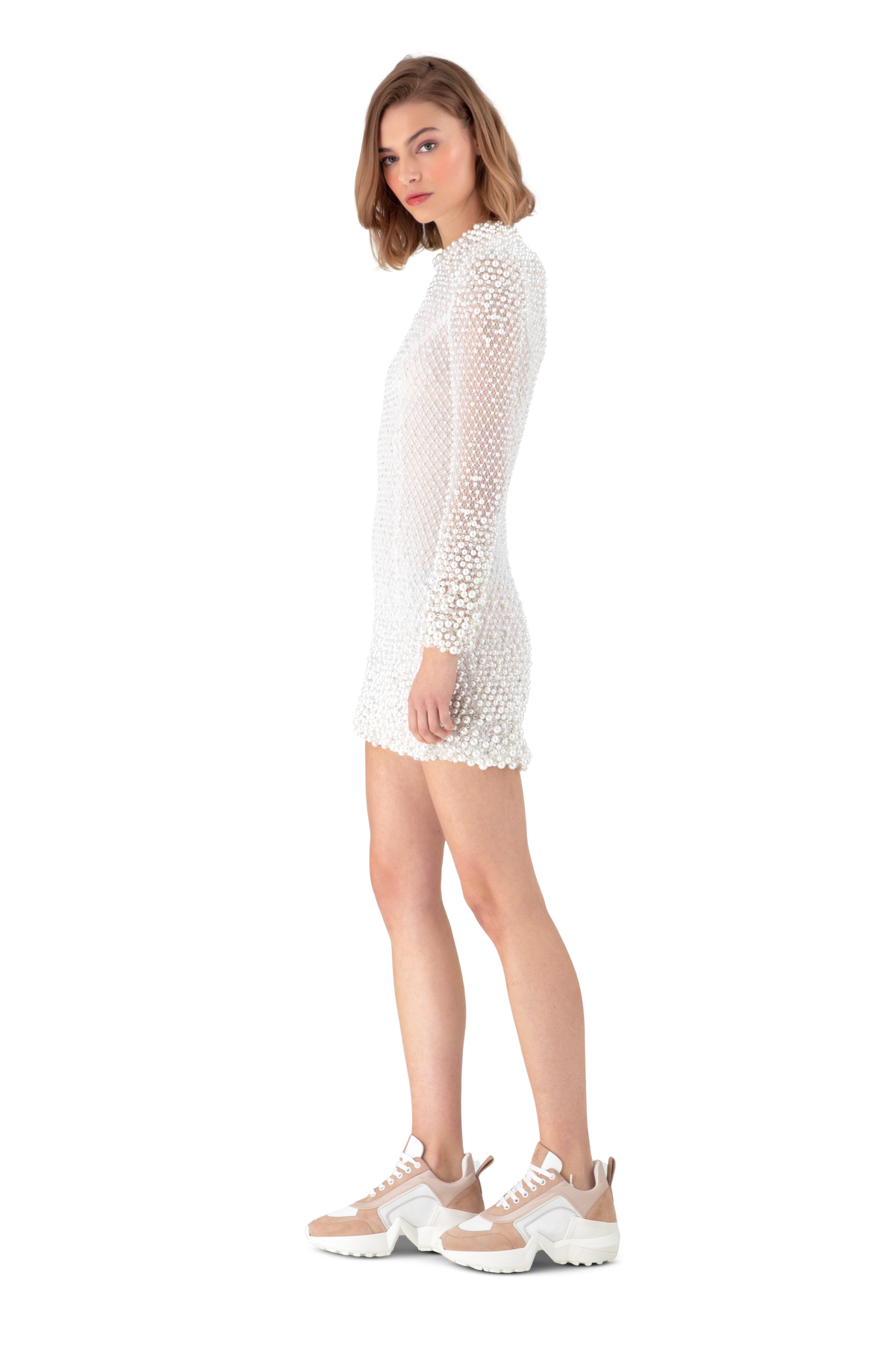 White Embellished Lace Mini Dress