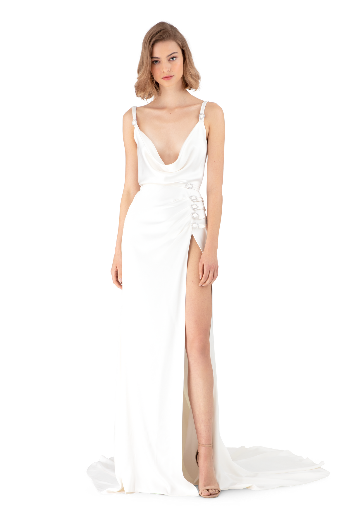 White Double Silk Satin Cowl Neck Maxi Dress
