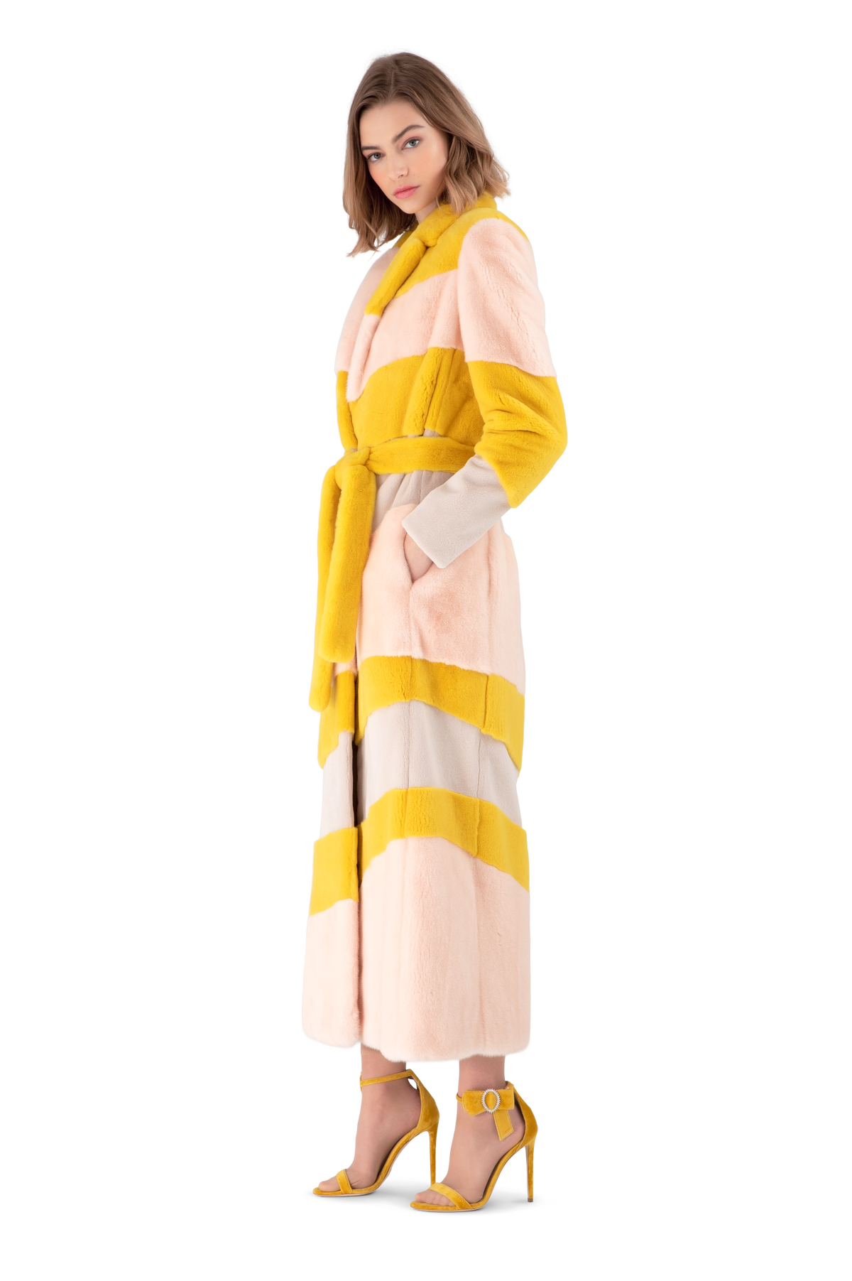 Pale Pink And Mustard Mink Fur Robe Coat