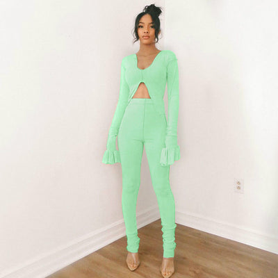 Two Piece Set Women Flare Long Sleeve Bodycon Cropped Outfits