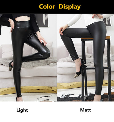 Black Leggings for Women丨Faux-Leather Legging丨Leather Leggings for Women丨High Waist Leggings丨Meetshaper Leggings