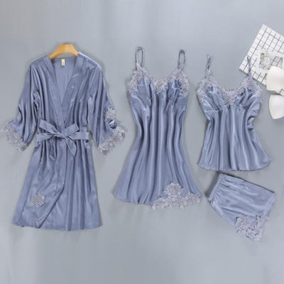 4 Pieces Women Pajamas Sets Satin Sleepwear Silk Nightwear