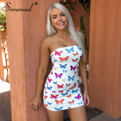 Butterfly Print Strapless Bodycon Skinny Wrap Chest Mini Dresses