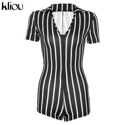 Vertical Striped Plunging Romper