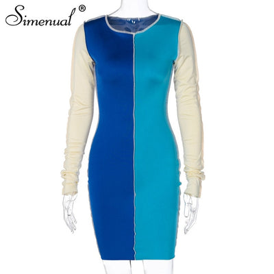 Autumn 2020 Color Blocking Party Dress