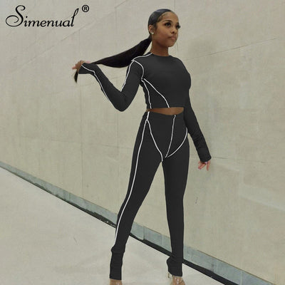 Long Sleeve Skinny Bodycon Striped Tracksuit Top And Leggings Set