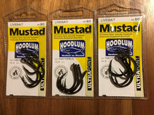 Load image into Gallery viewer, 3 Packs of Mustad 10827NPBLN Hoodlum Live Bait 4x Super Strong Fishing Hooks