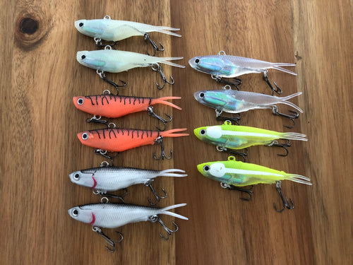 10 x 95mm x 20g soft plastic vibe transam fishing lures- Barra, bass, jew, jack+