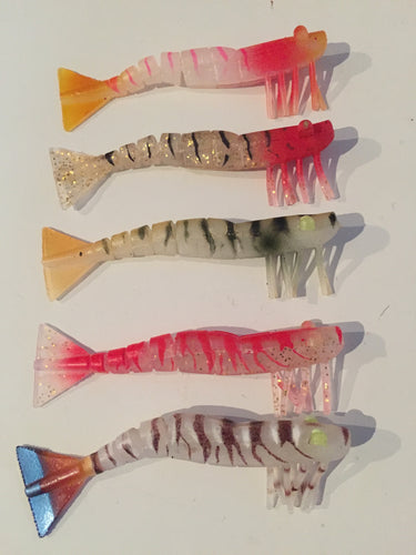 5x Kevlar Live Shrimp Elaz-Tec Soft Plastic Prawn 120mm- Barra, snapper, reefies
