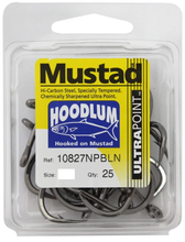 Load image into Gallery viewer, 25 Pack Mustad 10827NPBLN Hoodlum Live Bait 4x SUPER Strong Fishing Hooks