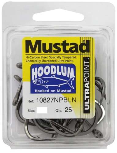 25 Pack Mustad 10827NPBLN Hoodlum Live Bait 4x SUPER Strong Fishing Hooks