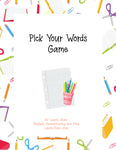 Pick Your Words - Strategic Homeschooling And More